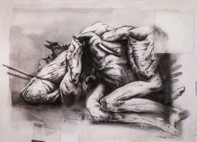 Sergio Abraín, Infinito dolor, 1974. Pluma sobre papel, 35 x 50 — Cortesía del Ayuntamiento de Zaragoza