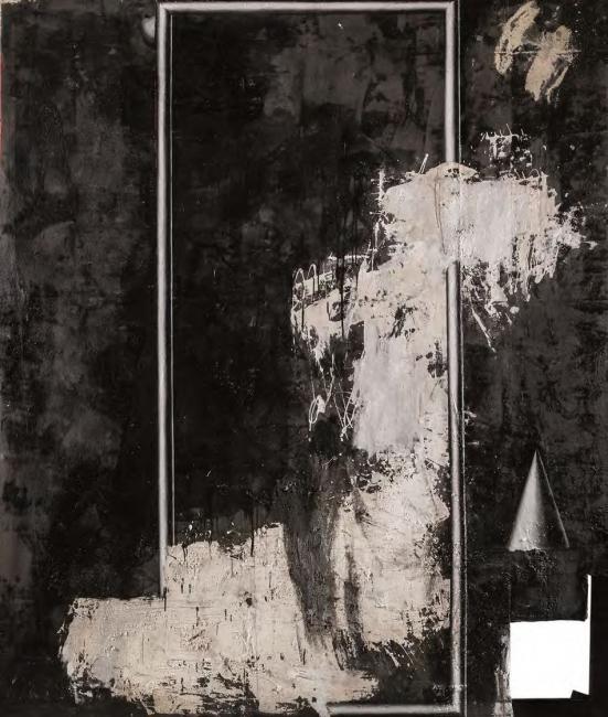 Sergio Abraín, Orfeo, 1988. Técnica mixta sobre tela, 277 x 236. IAACC Pablo Serrano. Gobierno de Aragón — Cortesía del Ayuntamiento de Zaragoza