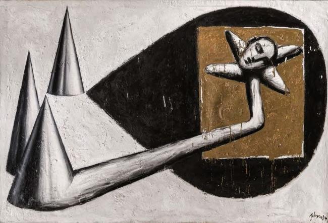 Sergio Abraín, Homenaje a José Alfonso, 1987. Óleo sobre lienzo, 200 x 300 — Cortesía del Ayuntamiento de Zaragoza
