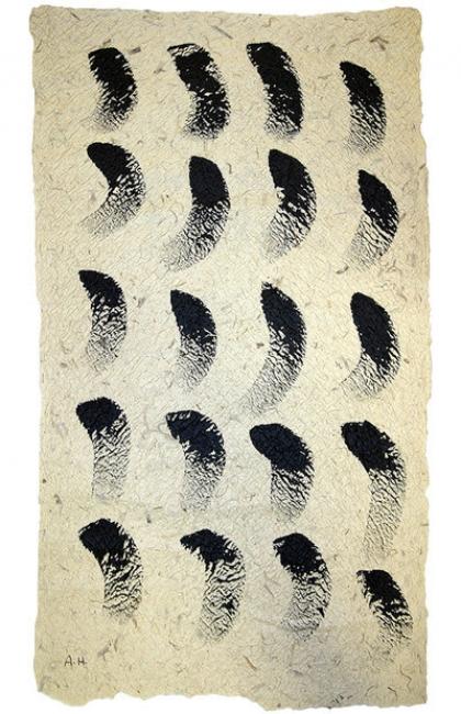Ana Hatherly, O Pavão Negro (1999). Acrílico sobre papel feito à mão / Acrylic on hand-made paper. Museu Coleção Berardo.