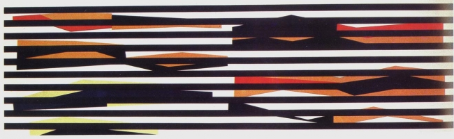 Alejandro Otero, Coloritmo 7 [Colorhythm 7], 1956. Industrial enamel on wood, 17 5/16 x 57 1/4 in.
