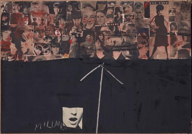 Sin título, 1964, Manolo Millares. Monotipo sobre papel adherido a tablex. 66 x 50 cm. Colección particular. Foto: Joaquín Cortés — Cortesía del Centro Botín