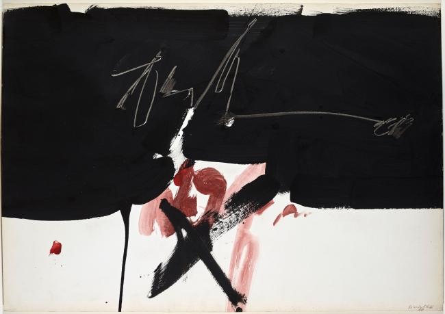Sin título, 1966. Manolo Millares. Pintura sobre papel. 70x95,5 cm. Colección particular. Foto: Joaquín Cortés — Cortesía del Centro Botín