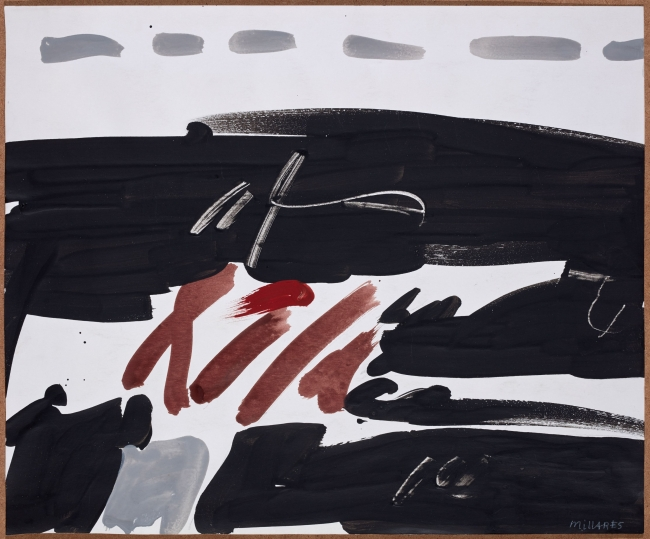 Sin título, 1968. Manolo Millares. Pintura sobre papel. 36,5 x 44,5 cm. Colección particular. Foto: Joaquín Cortés — Cortesía del Centro Botín