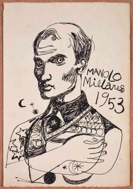 Manolo Millares, Autorretrato, 1953 © Manolo Millares. VEGAP, Santander, 2019 — Cortesía del Centro Botín