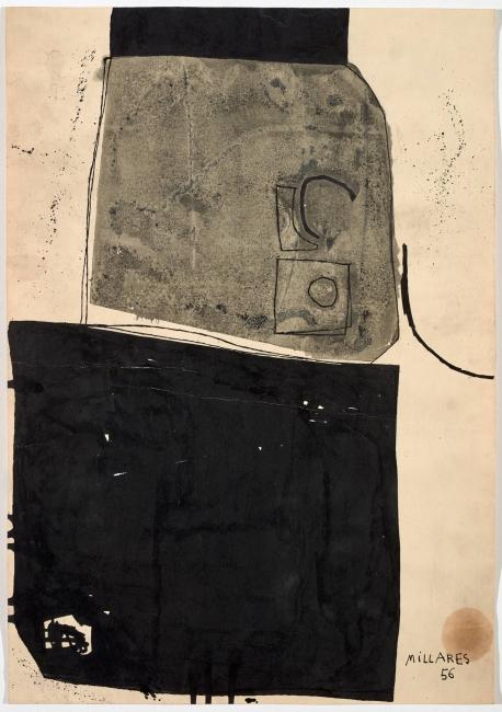 Manolo Millares, Sin título, 1956 © Manolo Millares. VEGAP, Santander, 2019 — Cortesía del Centro Botín
