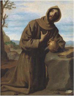 San Francisco en oración Zurbarán 1659 Madrid, Museo Nacional del Prado — Cortesía del Museo Nacional del Prado