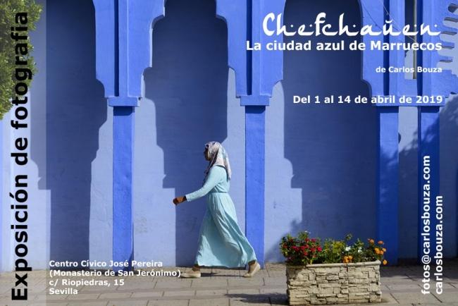 """Cartel de la muestra """"Chefchauen, la ciudad azul de Marruecos"""" en el Monasterio de San Jerónimo de Sevilla"""