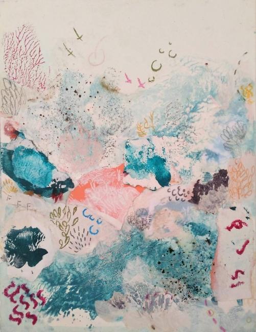 Mari Moreno, Serie en el fondo del Cabo, 2019, Técnica mixta sobre cartón, 21x16 cm. — Cortesía de la galería Acanto