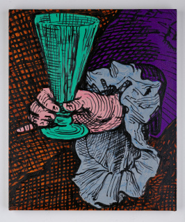 Charlie Billingham, Leg O'Mutton, 2020. Oil on linen, 60 x 50 cm. — Cortesía de la Galería Travesía Cuatro