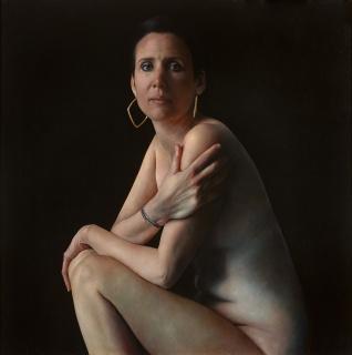 Primer Premio de PIntura: Anne- Christine Roda, Nicole. Óleo sobre lino, 120x120 cm. — Cortesía de la galería Artelibre