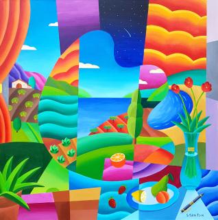 """Back in Time"" 100x100 cm Philip Stanton - Galería Jordi Barnadas, Barcelona"