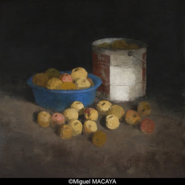 Miguel MACAYA, huile sur bois, 122 x 122 cm