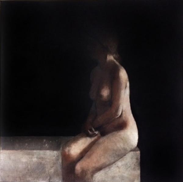 Miguel MACAYA, huile sur bois, 120 x 120 cm.