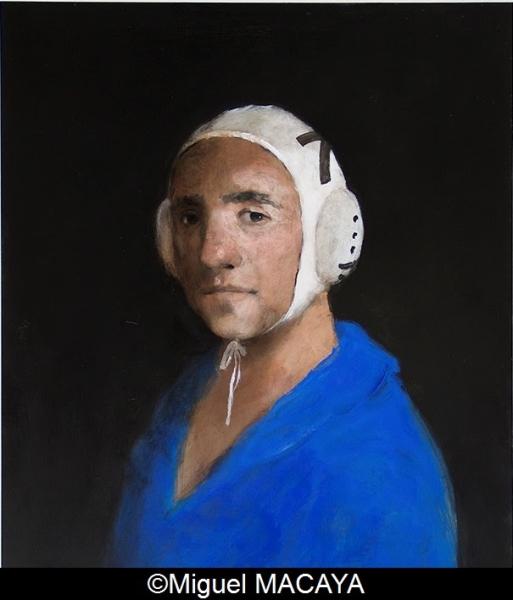 Miguel MACAYA, huile sur bois, 70 x 60 cm