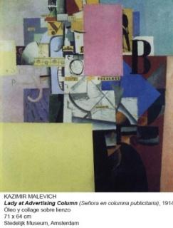 Kazimir Malevich, Lady at Advertising Column, 1914. Óleo y collage sobre lienzo, 71x64 cm. Stedelijk Museum, Amsterdam – Cortesía del Museo Nacional Centro de Arte Reina Sofía