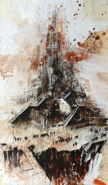 Gustavo Díaz Sosa. De la serie Huérfanos de Babel, 2019. Técnica mixta sobre lino. 195 x 114 cm. — Cortesía de Arte Madrid