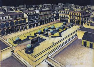 Proyecto: Felicia Chateloin y Patricia Rodríguez, Renovación de la Plaza Vieja, 1986. Francisco Bedoya: dibujo sobre papel vegetal, 28,3x41,9 cm. — Cortesía de Es Baluard