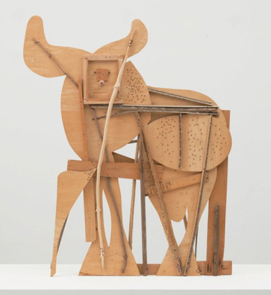 Pablo Picasso (Spanish, 1881-1973). Bull. Cannes, c. 1958. Plywood, tree branch, nails, and screws, 117.2 x 144.1 x 10.5 cm. © 2015 Estate of Pablo Picasso/Artists Rights Society (ARS), New York