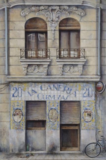 Coro López-Izquierdo, La cañería, 150x100 cm., óleo collage lienzo, 2015-17 – Cortesía de la Galería Ansorena