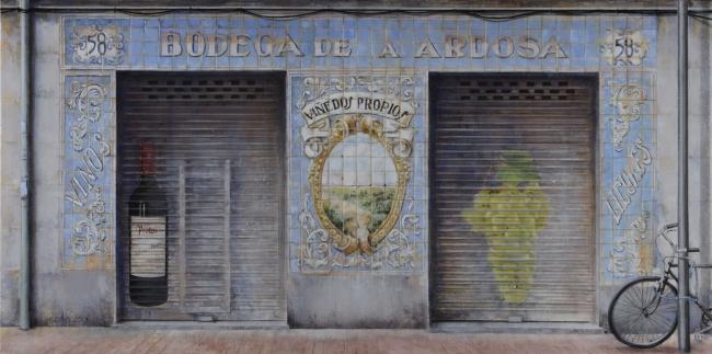Coro López-Izquierdo, Bodega la ardosa, 60x120 cm., óleo collage lienzo, 2016-17 – Cortesía de la Galería Ansorena