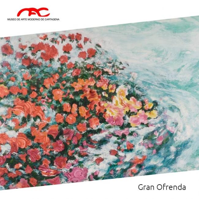"""""""Gran Ofrenda"""" Una pintura del año 2000 hecha en acrílico sobre tela, por la Artista Cartagenera Bibiana Vélez"""