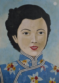 Dama de Shanghai 2, año 2018, acrilico sobre lienzo, 210 x 152 cm
