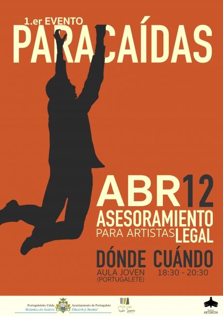 Cartel EVENTO PARACAÍDAS: asesoramiento legal para artistas jóvenes
