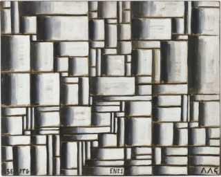 Joaquín Torres-García, Construction in White and Black. 1938. Oil on paper mounted on wood, 80.7 x 102 cm.