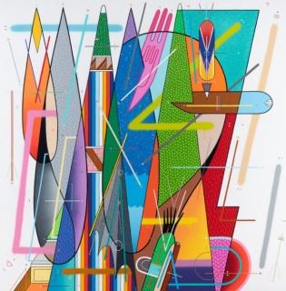 Sixe Paredes, Personaje Zoomorfo N-1' acrílico sobre tela, 164 x 164 cm / 64.6 x 64.6 in. (2018) — Cortesía del artista