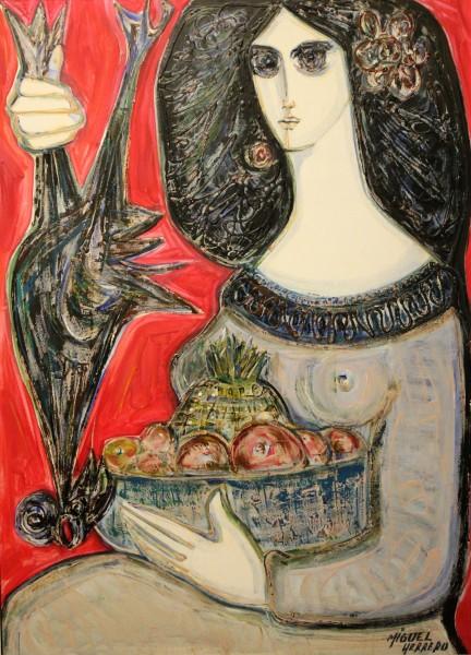 Miguel Herrero, Dama con frutas, 1975. 96x72 cm. Óleo sobre tabla