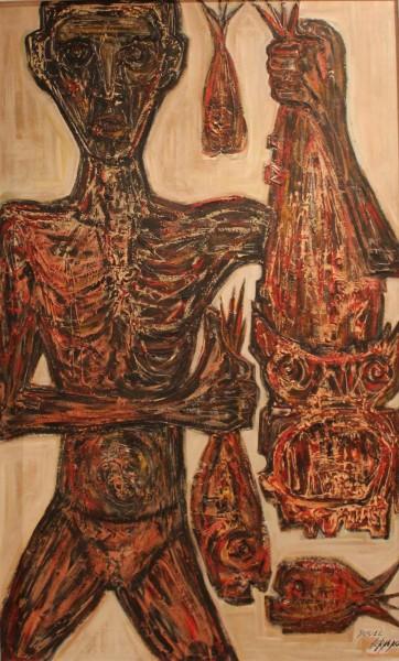 Miguel Herrero, El Pescador, 1958, 200x122 cm, óleo sobre tabla