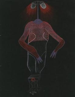 Valentine Hugo, Paul Eluard, Tristan Tzara, Cadavre Exquis, c. 1930. Colored pencils on black paper, 32.5 x 25 cm. Courtesy of the artists; Galerie 1900-2000, Paris; Galerie Chantal Crousel, Paris. Photo: Galerie 1900-2000.