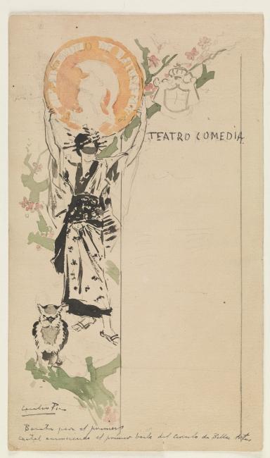 Cartel del primer baile de máscaras del Círculo de Bellas Artes (boceto) Cecilio Pla Lápiz, pluma y aguada 1892 Madrid, Museo Nacional del Prado