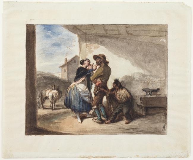 Leonardo Alenza, Mientras le miman le roban, hacia 1838. Acuarela sobre papel — Cortesía del Museo Lázaro Galdiano