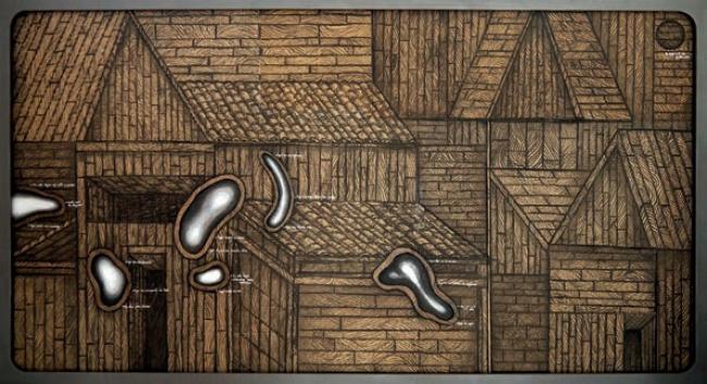 Manuel Barbero. Archipiélago frustración. Técnica mixta, 107x196 cm. — Cortesía Arte Madrid