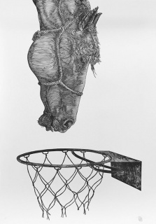 Osmeivy Ortega (Cuba, b. 1980), Untitled, 2012, Woodcut print on archival paper, 39 ½ x 27 ½ inches. Courtesy of the artist and Saltfineart & MOLAA