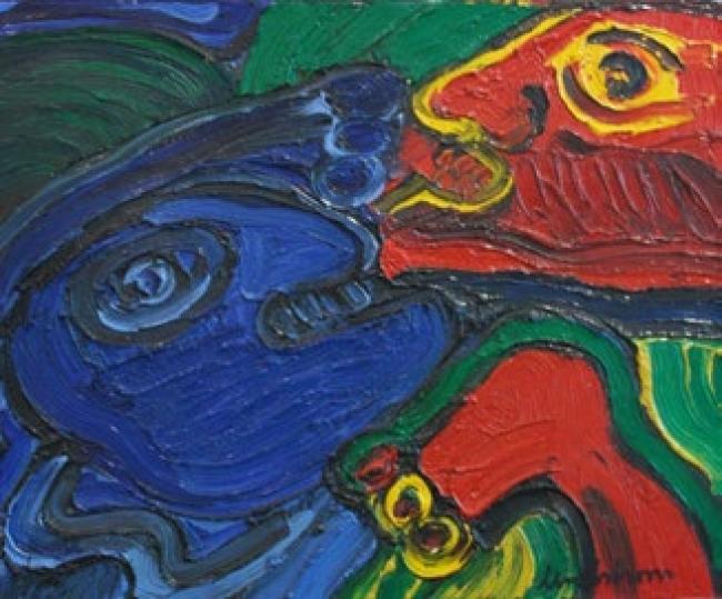 Bengt Lindstöm. S.T. Óleo sobre tela, 60 x 73 cm. — Cortesía del Gremi de Galeries d'Art de Catalunya