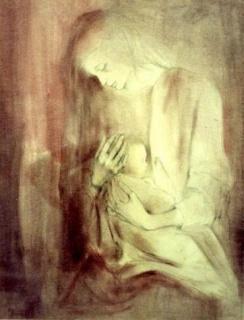 Montserrat Gudiol. Maternitat. 1982  Dibujo a lápiz. 65x50 cm.