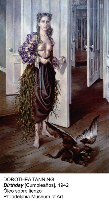 Dorothea Tanning, Birthday, 1942. Óleo sobre lienzo. Philadelphia Museum of Art — Cortesía del Museo Nacional Centro de Arte Reina Sofía