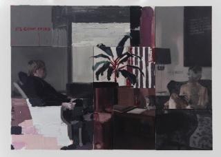 Nacho Martín Silva. A very serious discussion about painting. 2019. Políptico, óleo sobre tela. 140 x 196 cm. — Cortesía de la Galería Max Estrella