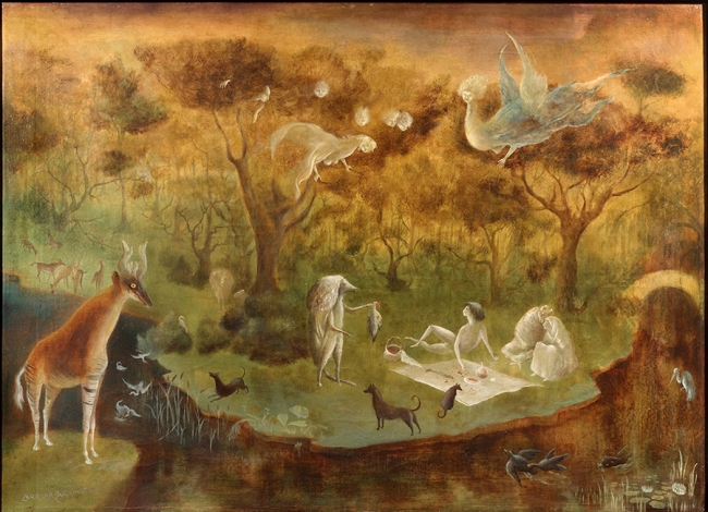 """Leonora Carrington, """"Pastoral,"""" oil on canvas, 21 × 29 inches, signed, 1950"""