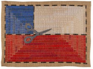 Paloma Castillo, Ex Post, 2020. Bordado a mano con hilos de algodón en yute, 38,5 x 52 cm