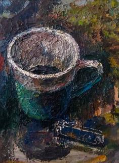 Alejandro Alcázar / «Taza y cortaúñas» / óleo sobre lienzo / 30 x 20 cm. / 2019