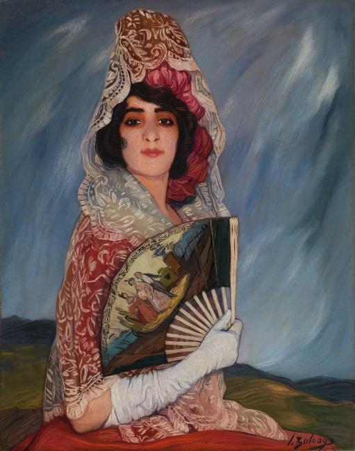 Ignacio Zuloaga, Una manola. Óleo sobre lienzo, 93,5 x 7 3,5 cm., h. 1913 Madrid, Museo Nacional del Prado. Donación Gerstenmaier  — Cortesía del Museo del Prado