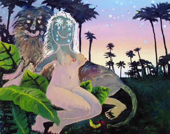 Bel Fullana Tarzana universe possesion, 2018. Mix on canvas. 130 x 162 cm. © Bel Fullana. Courtesy the artist and Yusto/Giner.