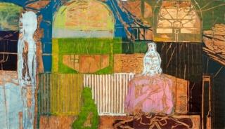Fabricio Lopez, Noroeste, 2011 Madeira e tinta off set 220 x 480 cm. — Cortesía del Instituto Figueiredo Ferraz