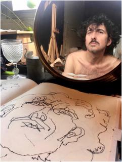 Eduardo Sourrouille. Dibujos. Retratos a través del espejo — Cortesía de Espacio Marzana