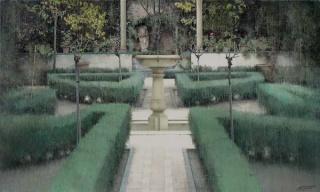 Carlos Morago, Jardín, óleo sobre tela, 114x146 cm.
