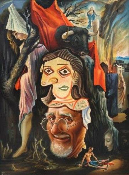 Cândido da Costa Pinto, Coisas Espanholas, 1947, Óleo sobre madeira, 81 x 60 cm.